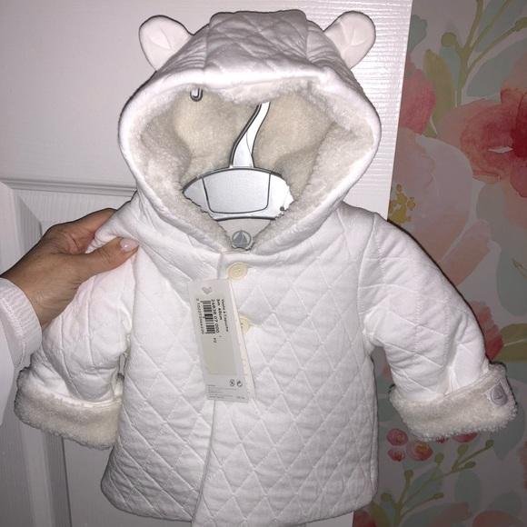 NEW Petit Bateau winter white coat with hood ears